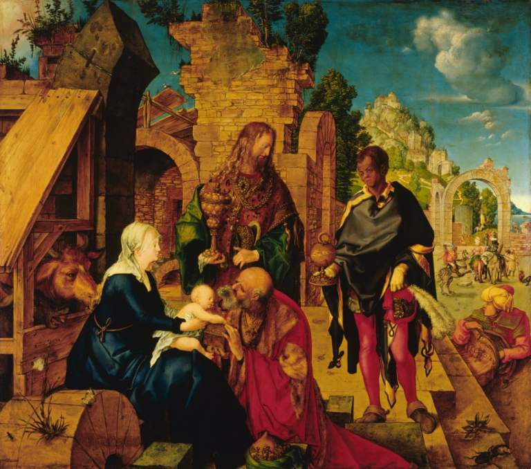 Adoration of Magi by Albrecht Durer. Painting of nativity scene