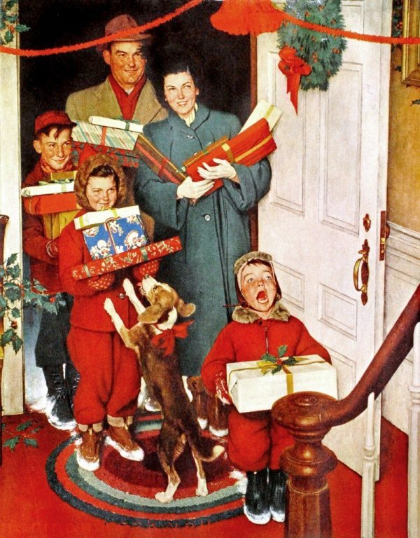 Merry Christmas, Grandma by Norman Rockwell. Illustration of family arriving at door of house loaded up with presents in hand. Mom, dad, three children and puppy.