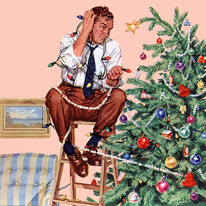 Man Tangled Up in Christmas Decorations by Al Brule. Painting of man in suit minus jacket sitting on top of ladder next to Christmas tree with strings of lights and popcorn tangled around him.
