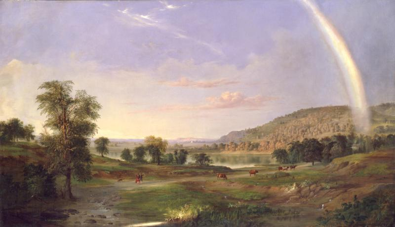 Landscape with Rainbow by Robert S. Duncanson. 1859 Hudson River School oil painting of pasture of cows with lake in the distance and rainbow.