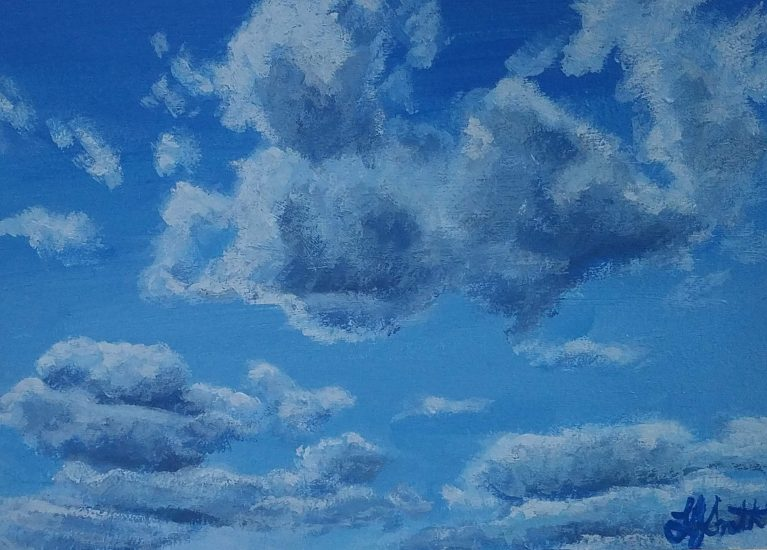 Clouds 2 by Laura Jaen Smith. Acrylic painting of blue sky with clouds.