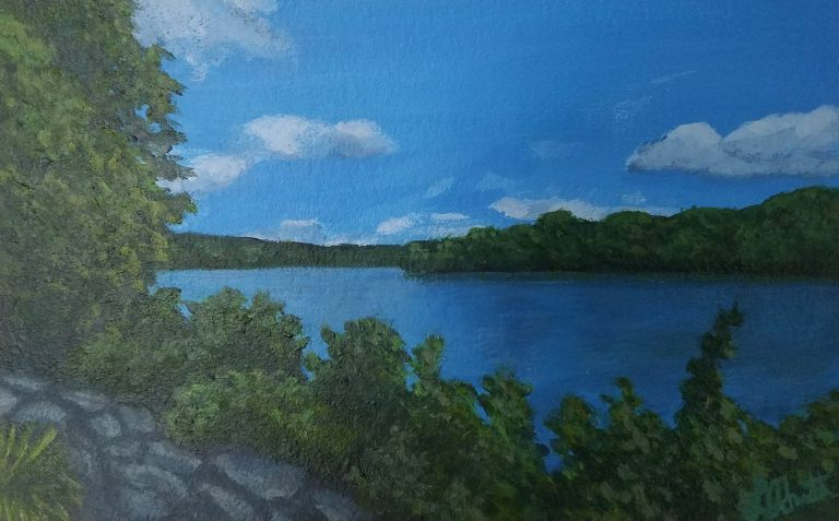 On the River by Laura Jaen Smith. Acrylic painting of Owego Riverwalk looking out to the Susquehanna River