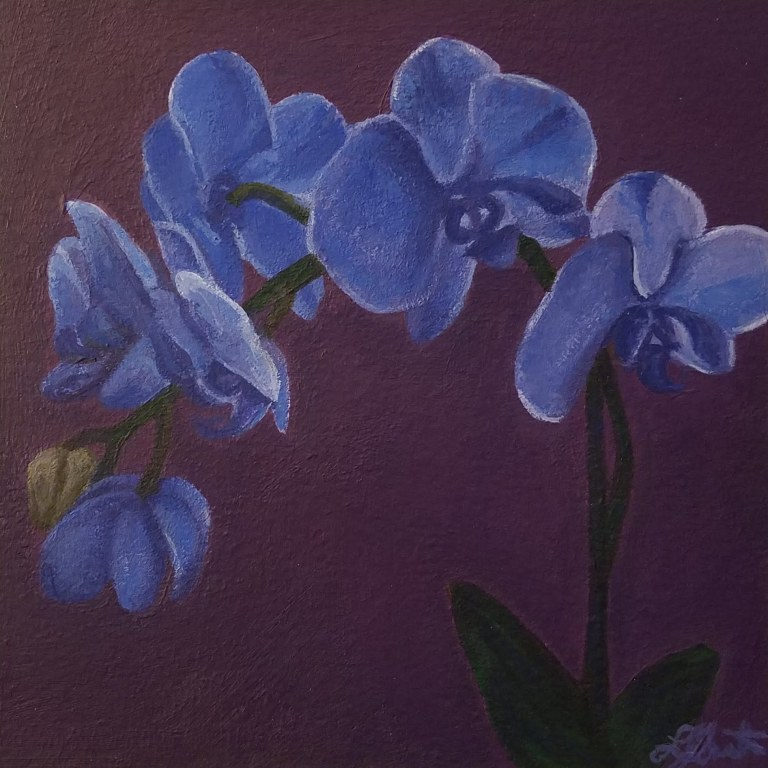 Orchid with Purple by Laura Jaen Smith. Acrylic painting of blue orchid with deep purple background
