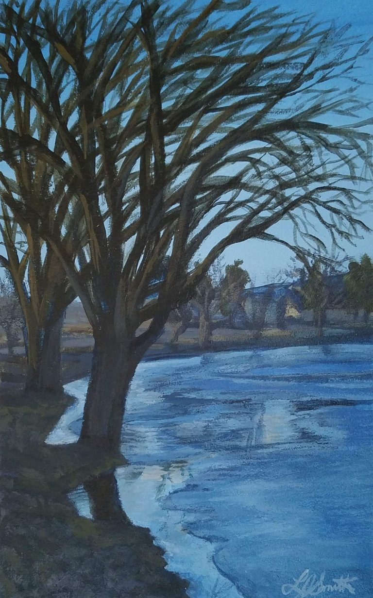 Eldridge Park in Winter by Laura Jaen Smith. Acrylic painting of bare trees along Eldridge Lake with floating ice on water
