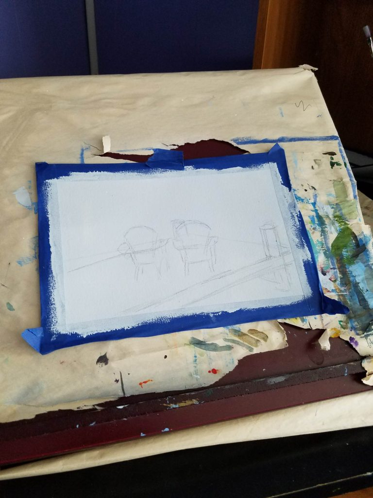 Preliminary sketch outline of Two Blue Chairs by Laura Jaen Smith on tabletop easel
