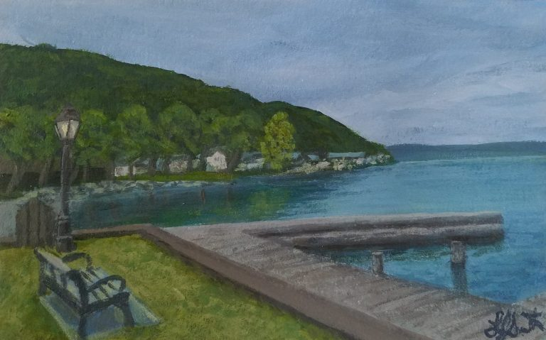 Looks Like Rain by Laura Jaen Smith. Painting of overcast day looking out over the dock to Keuka Lake