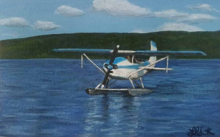 Seaplane by Laura Jaen Smith. Painting of seaplane landing in Keuka Lake Finger Lakes