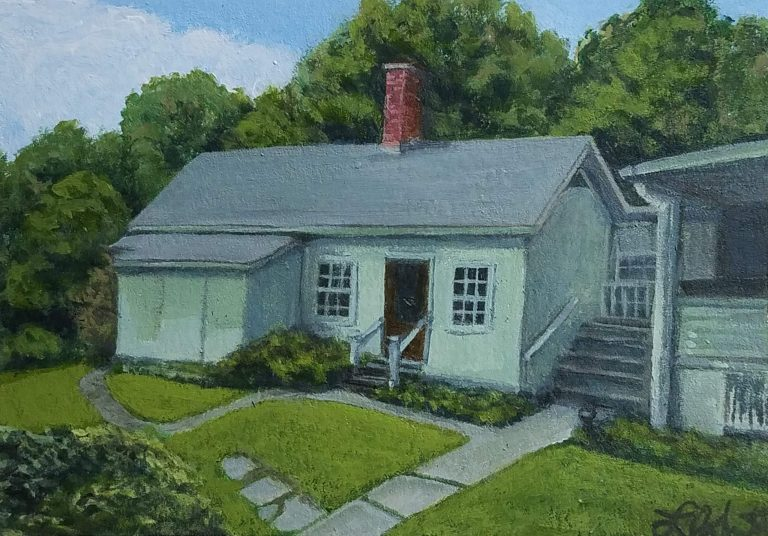 Mary's Cottage by Laura Jaen Smith. Painting of Mary Ann Cord's cottage at Mark Twain's Quarry Farm.