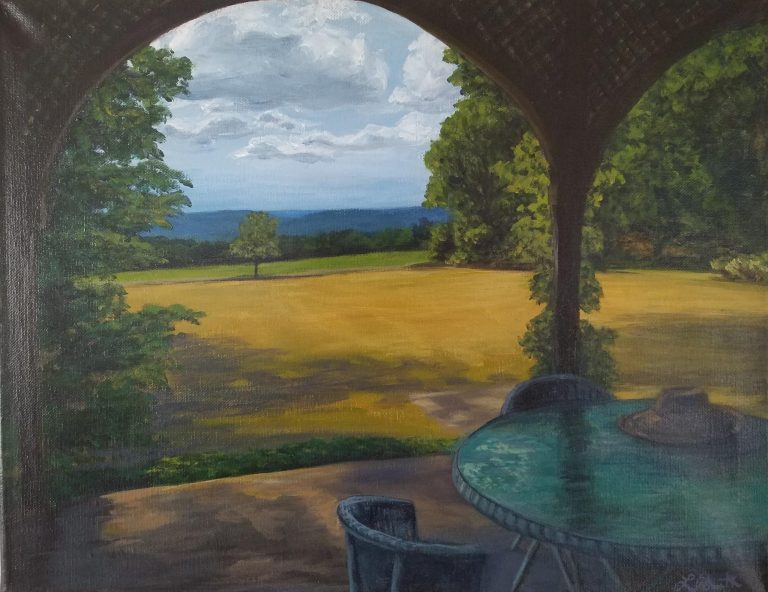 Late Summer on the Porch by Laura Jaen Smith. Painting of the porch at Quarry Farm in late summer looking out at the rolling hills of Elmira, ny.