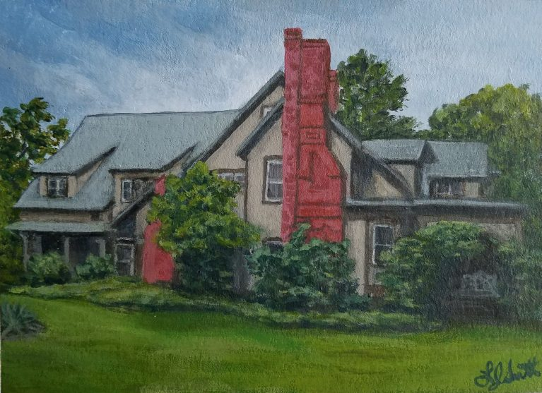 Historic Home by Laura Jaen Smith. Painting of exterior of Quarry Farm Victorian summer home of Mark Twain.