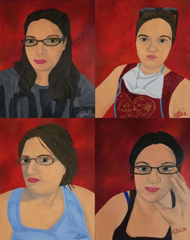 Corona Self-Portraits by Laura Jaen Smith. Four gouache self-portrait paintings.