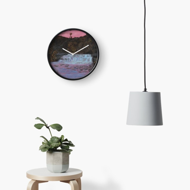 Photo of clock with image of Lower Taughannock Falls waterfall painting at sunset by Laura Jaen