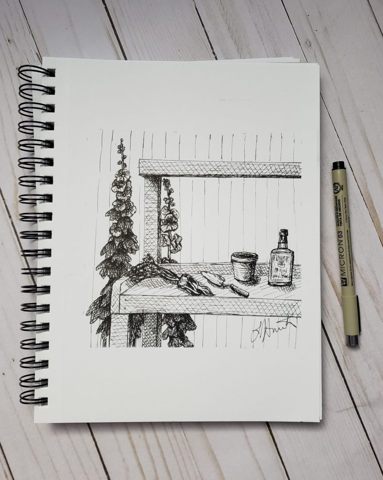 Inktober day 6 ink drawing challenge. Garden workbench with mandrake,, small shovel, empty pot,, and bottle of spirits on it, hollyhocks in background.