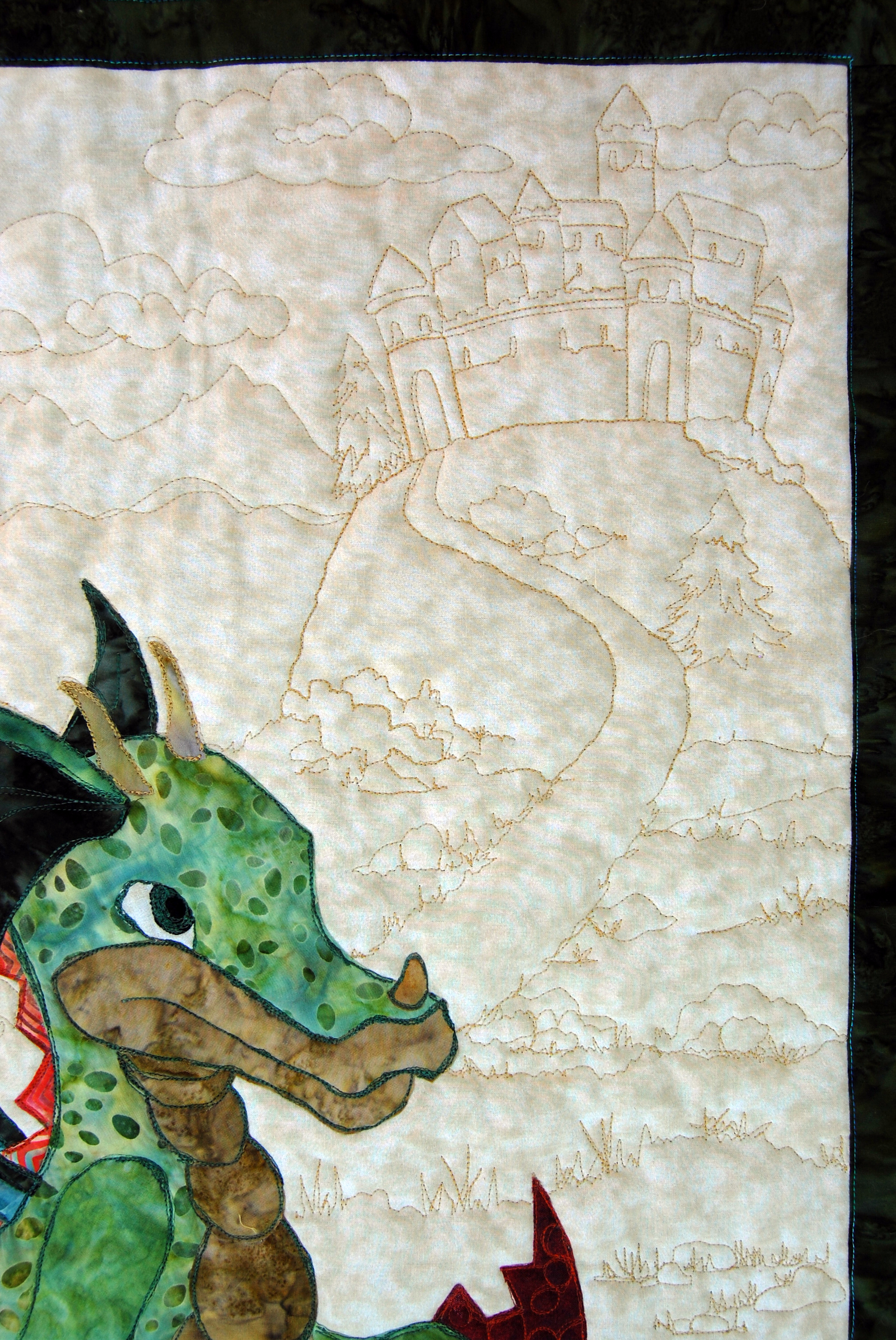 Baby Dragon Quilt  Painting With Thread