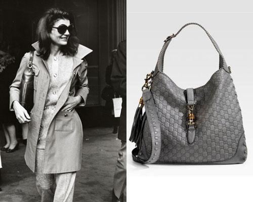 Jacqueline Kennedy com a bolsa HOBO da Gucci