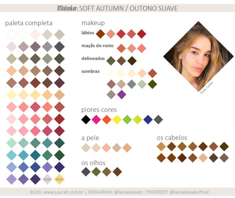 Paleta completa Outono Suave ou Soft Autumn de roupas e maquiagens