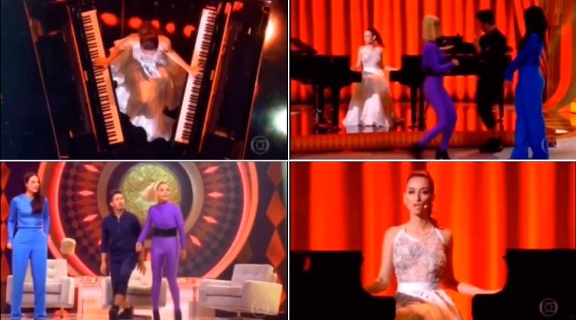Jay Bergamini tocando dois pianos no programa do Luciano Huck na Globo