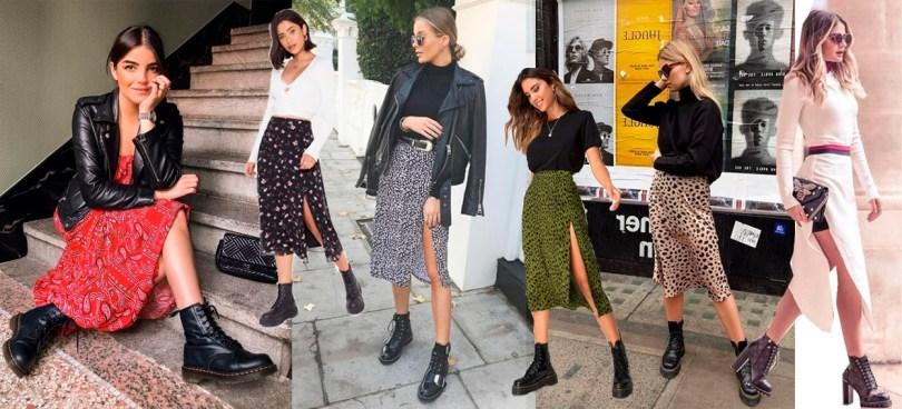 Looks para usar com coturno feminino com saia em 2020