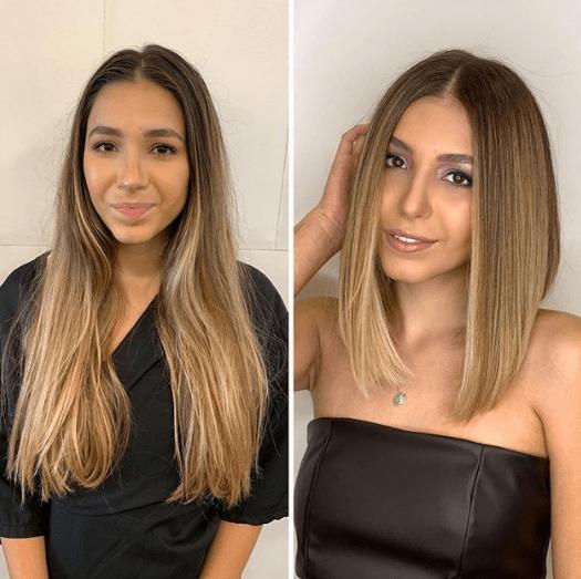 Antes e depois corte long bob
