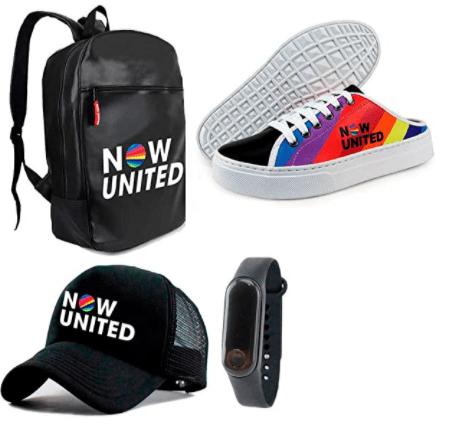 Conjunto kit tenis boné relógio mochila preto Now United