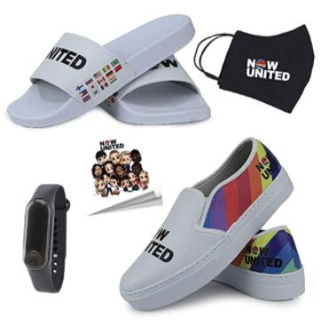 Kit Now United com chinelo slipper máscara relógio adesivo e tênis