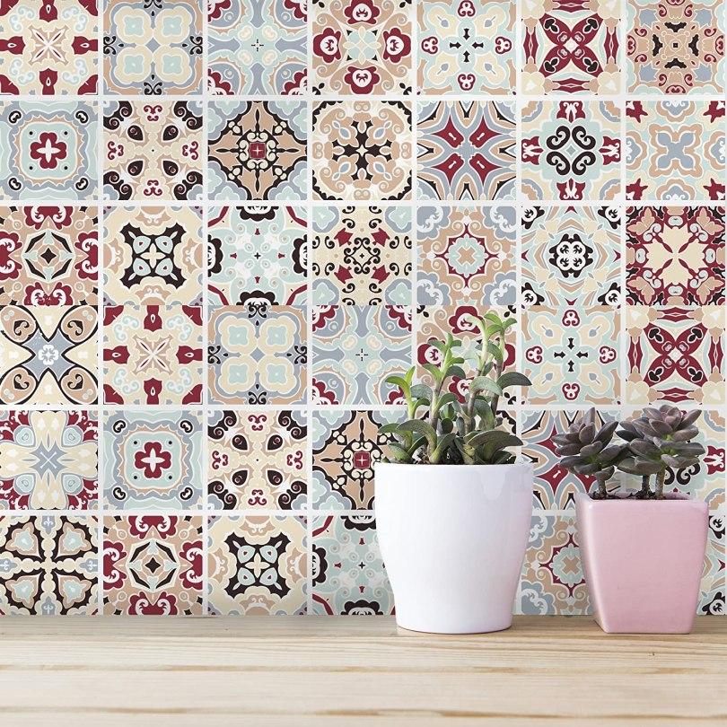 azulejo decorado adesivo colorido para cozinha