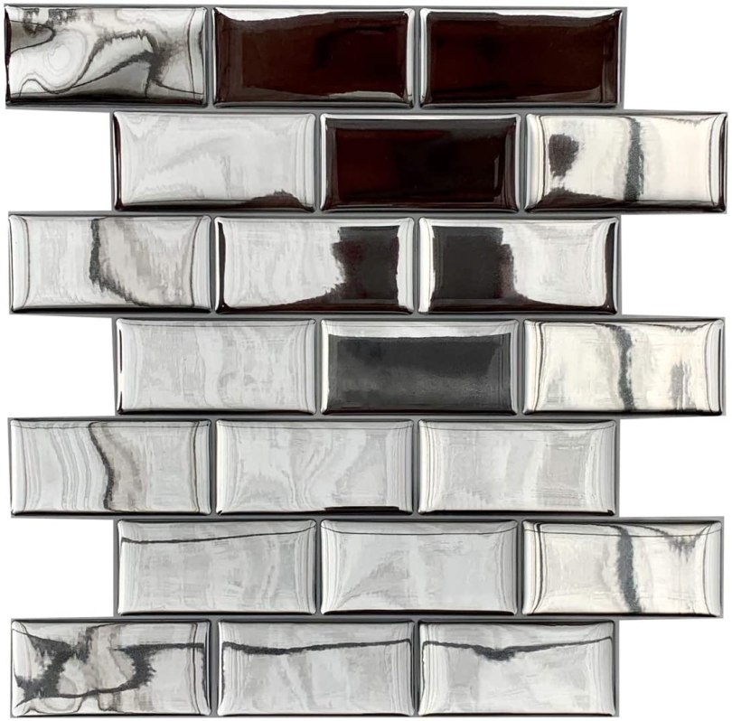 azulejo adesivo marrom metrô para cozinha