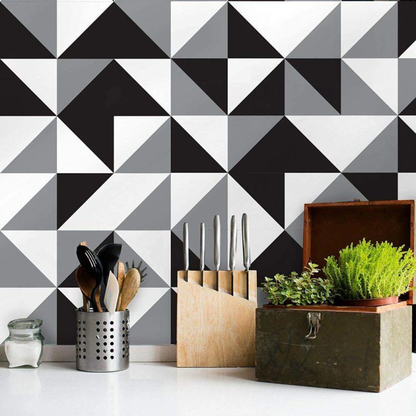 azulejo adesivo decorado preto e branco para cozinha