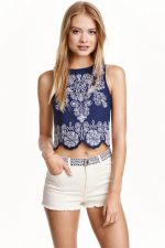 hm linen embroidered co-ord crop top