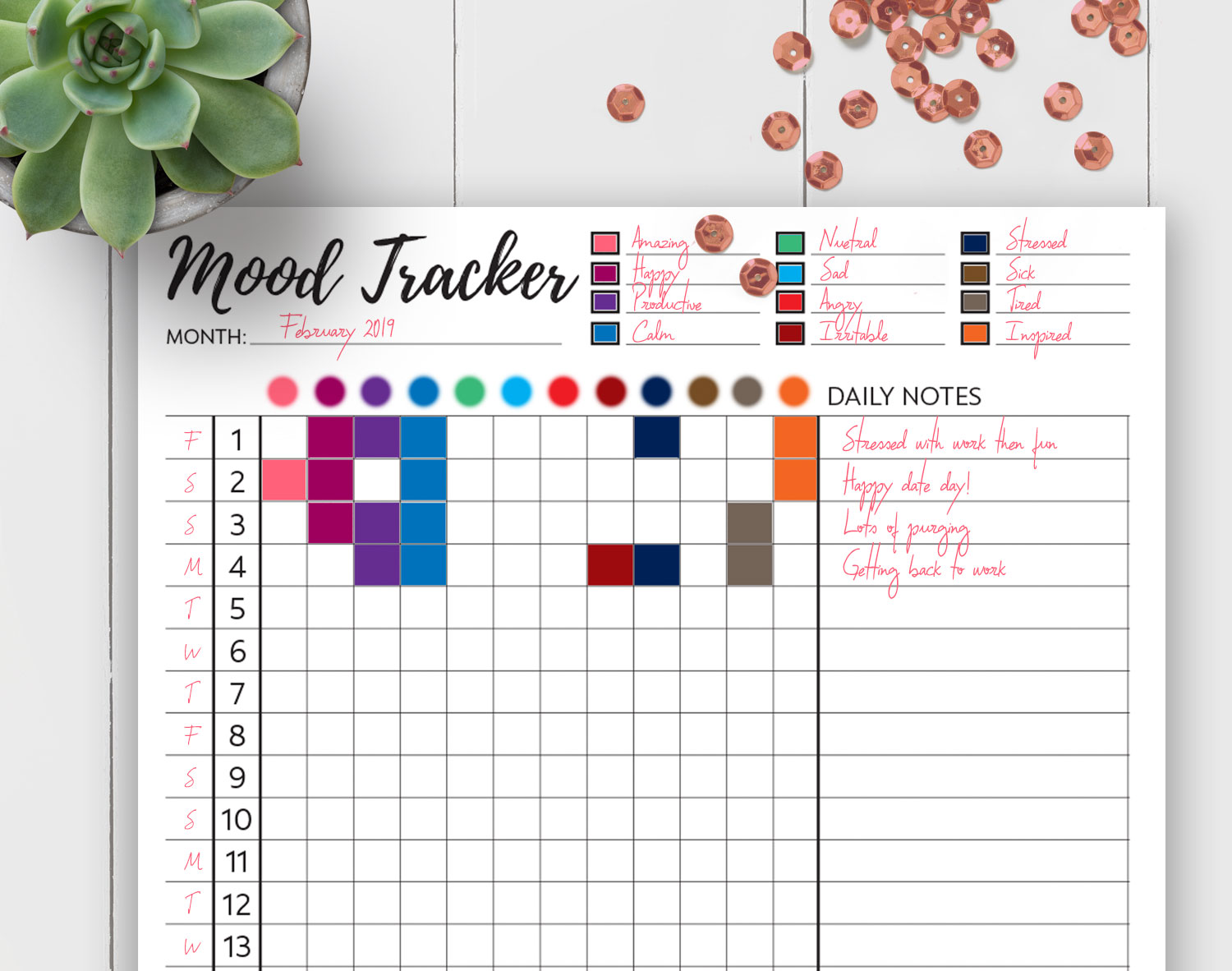 Printable Mood Tracker That Are Slobbery