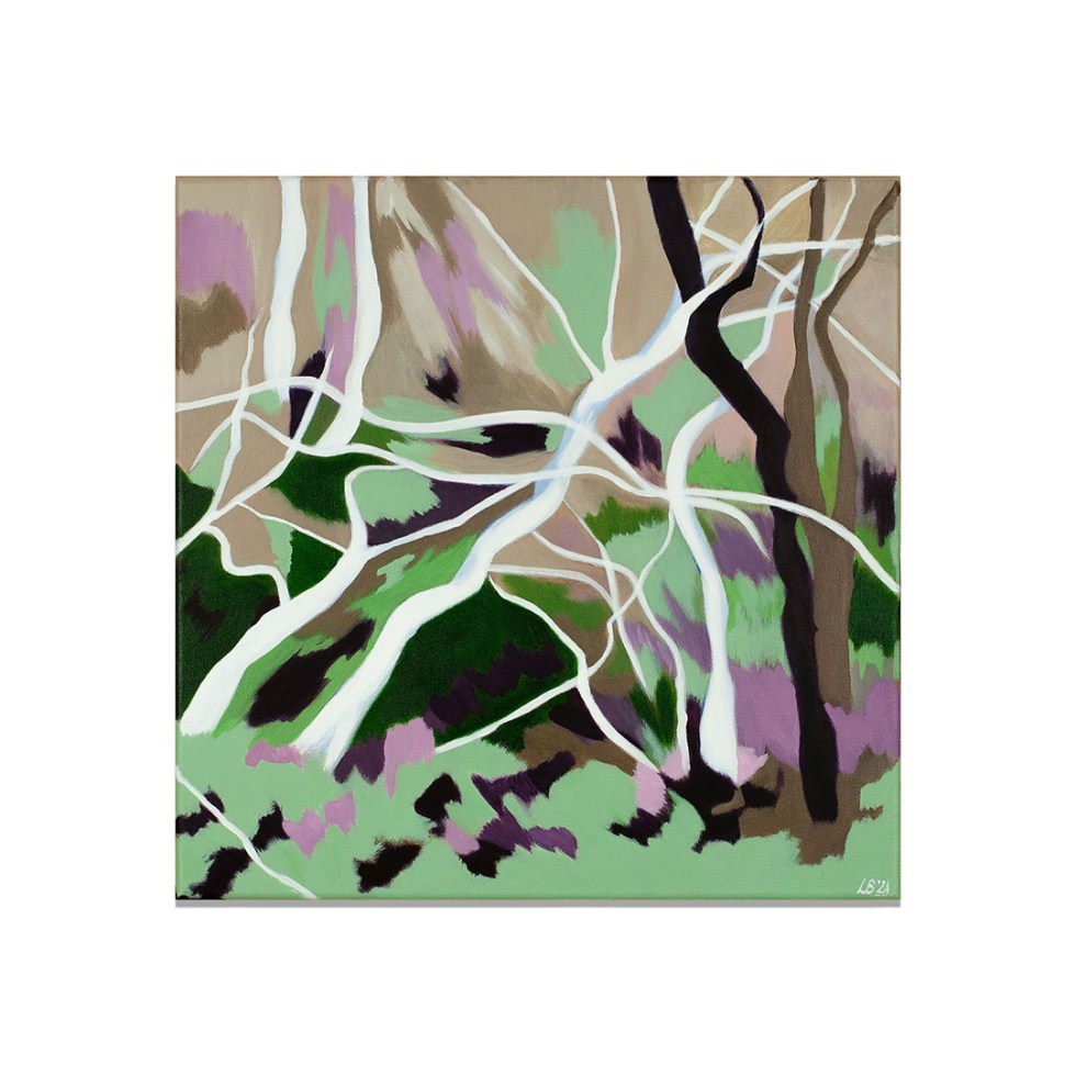 Abstracted Sculptural Trees, acrylic on canvas, 40 x 40 cm, 2021, available on webshop