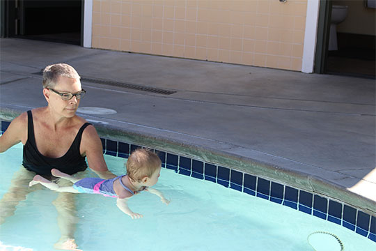 Granddaughter swimming