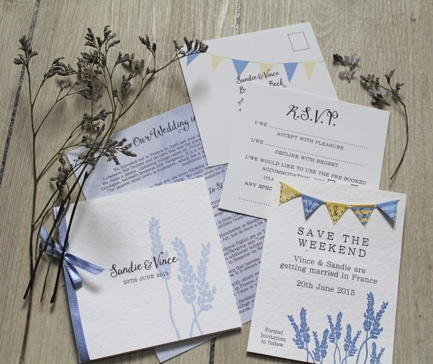 lavender wedding invitation invite rsvp purple yellow violet bunting classic crisp flower stem watercolour cornwall uk