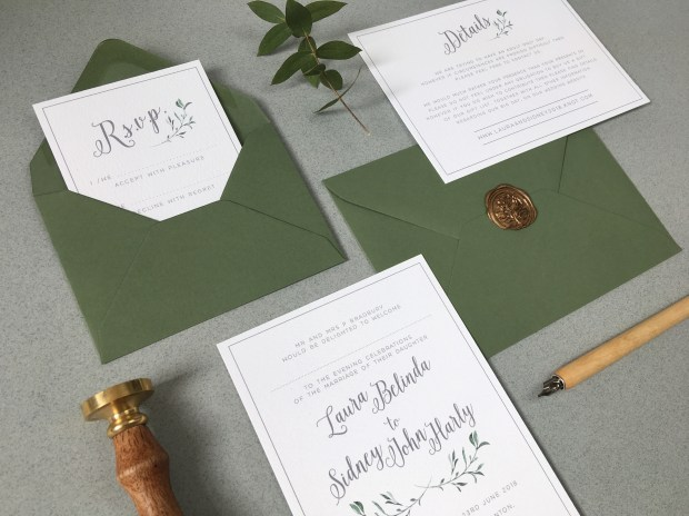 olive branch, foliage, simple, stylish, green and white, grey. geometric, leaves, wedding stationery, wedding invitations, wedding invites, Cornwall, laura likes, envelope liner, rsvp, Cornish, contemporary, elegant,