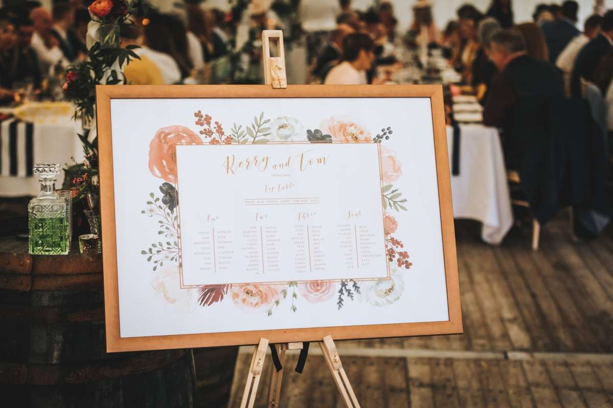 seating, plan, table, copper, floral, rustic, antique, gold, rose, pink, navy, dusky, reception, wedding, stationery, Laura likes, Cornwall