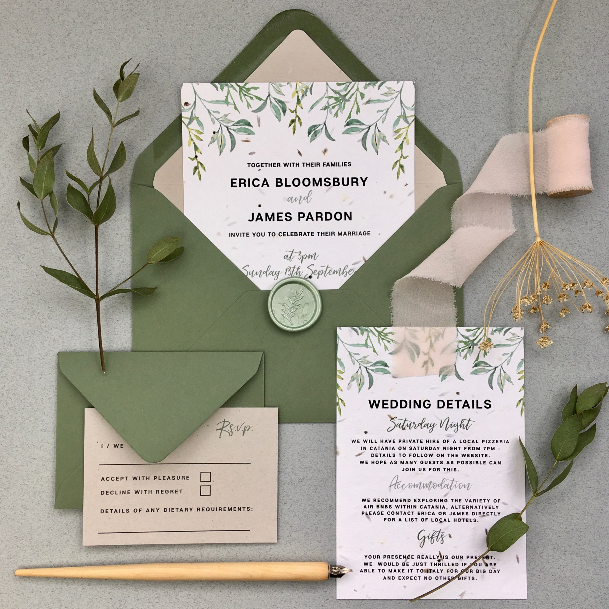 seed paper, olive, grove, branch, Italy, Tuscany, Italian, garden, classic, simple, foliage, green, wedding, invitation, invites, invitations, eco, recycled, Cornwall, Cornish, stationery, Laura Likes