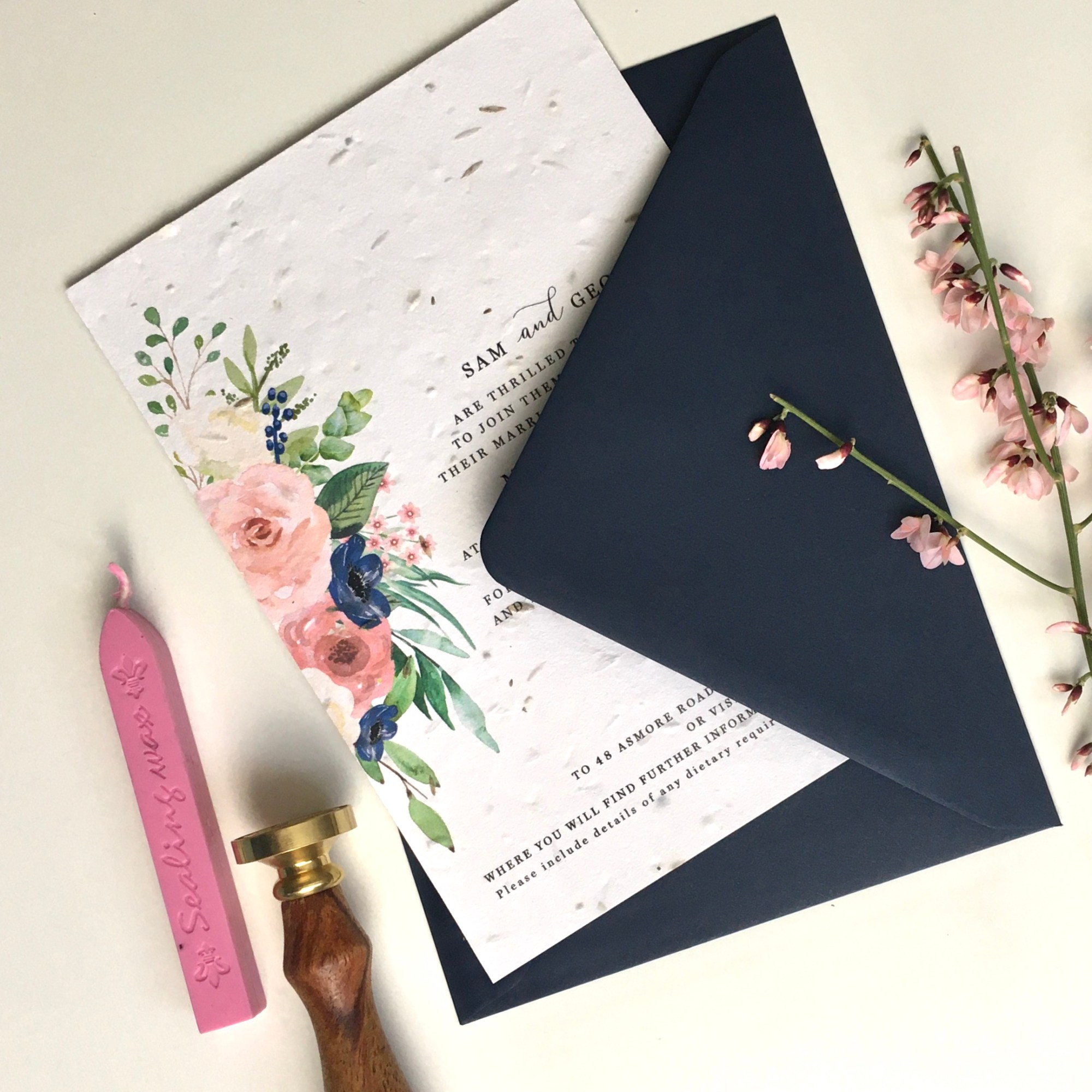 navy, blue, blush, boho, simple, foliage, green, pink, wedding, seed paper, invitation, invites, invitations, eco, recycled, Cornwall, Cornish, stationery, Laura Likes