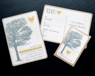 wedding invitation invitations invite invites rustic eco postcard unusual contemporary rsvp cornwall laura likes uk tree leaves orchard field meadow country yellow carving