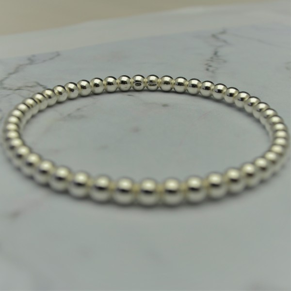 Large solid silver beaded bangle