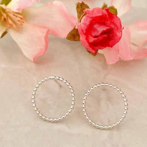 Silver circle small stud earrings