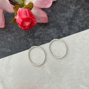 Small silver oval stud earrings