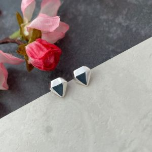 Silver Diamond Gemstone earrings by Laura Llewellyn Design