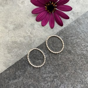 Small oval silver stud earrings