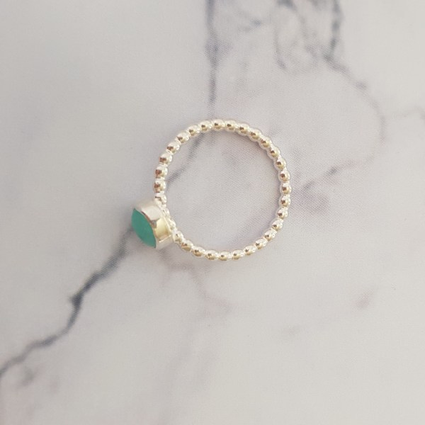 Amazonite Silver Beaded Stacking Ring