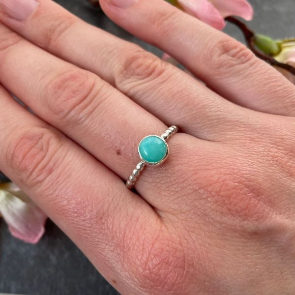 Amazonite turquoise green gemstone silver stacking ring