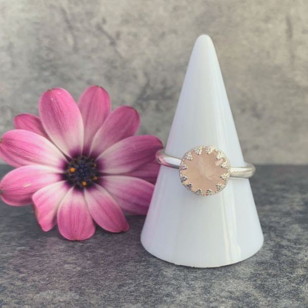 Rose quartz pink gemstone silver ring