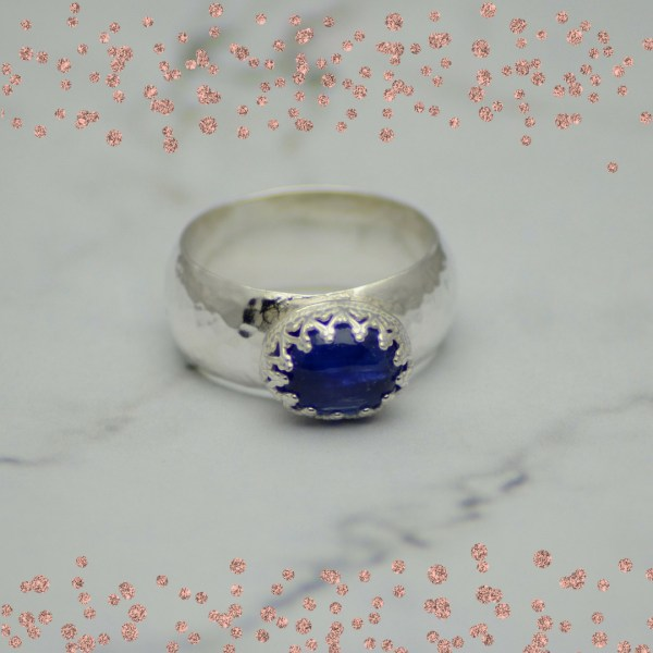 Silver and kyanite gemstone cocktail ring