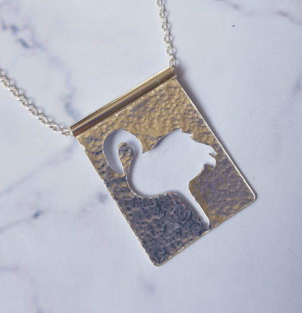 Silver Flamingo Pendant handmade by Laura Llewellyn Design