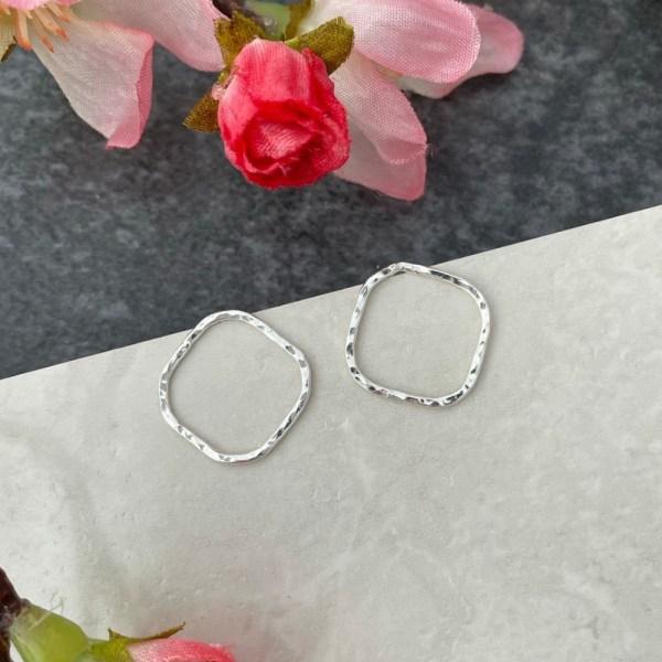 Silver hammered stud earrings