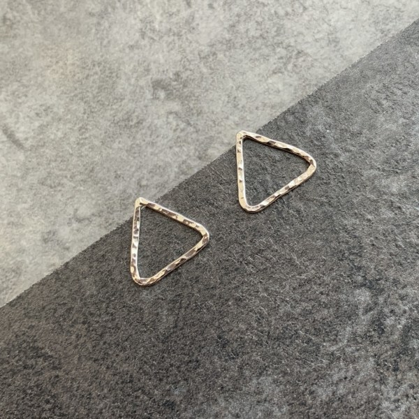 Hammered silver triangle studs
